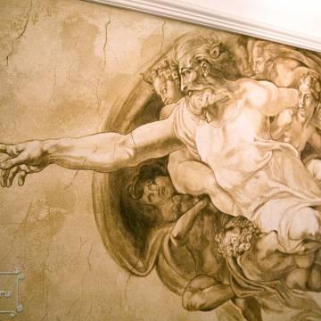 фреска Микеланджело с эффектом трещин