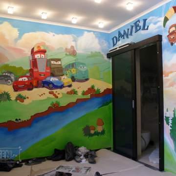 Тачки • роспись детской комнаты мальчика