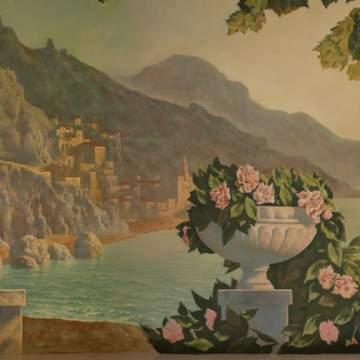 Пейзаж с розами • оформление ниши в стене