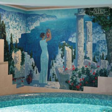 Роспись бассейна • средиземноморский пейзаж с колоннами