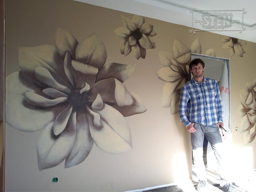 Рисунки цветов на стенах своими руками