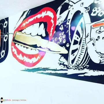 Роспись стен бара Bullet Burgers Bar