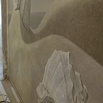 Ракушки • монохромный рисунок на штукатурке