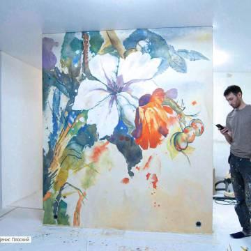 Акварель на стене - рисунки с акварельным эффектом