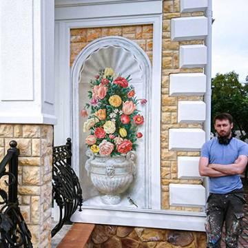 Цветы на стене - рисунки в СПб