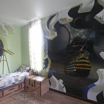 Корабль в космосе • рисунок на стене в детской
