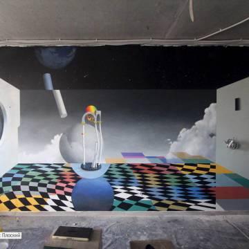 Роспись стен хостела • Абстракция • Небо • Космос