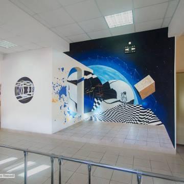 Роспись стен в школе - космос