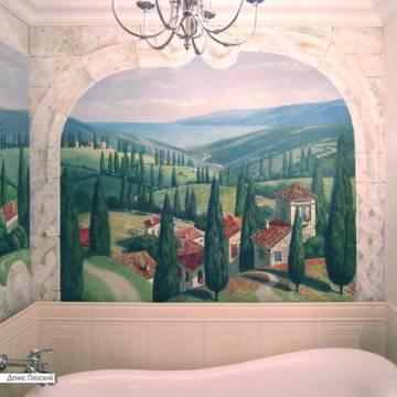 Роспись ванной в стиле