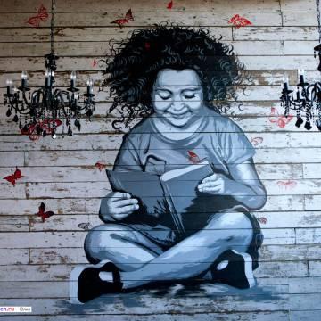 Девочка • картина в кафе