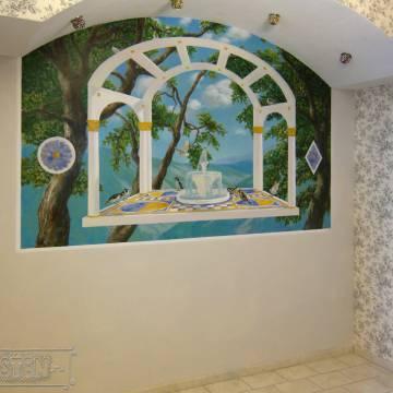 Фонтан в лесу • роспись стены над диваном