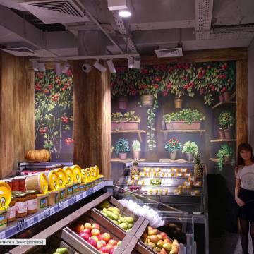 Гипсовый барельеф с растениями в магазине - Москва