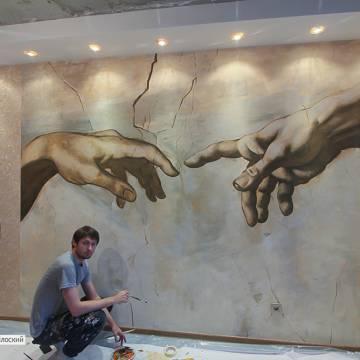 РУКИ МИКЕЛАНДЖЕЛО • фреска на стене