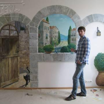 Средиземноморский пейзаж • фреска в интерьере кухни