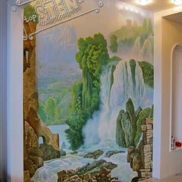Пейзаж с водопадом • рельефная роспись